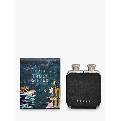 Ted Baker Polished Stainless Steel Double Hip Flask - 5055923763728