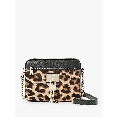 DKNY Elissa Leather Top Zip Cross Body Bag, Black/Leopard