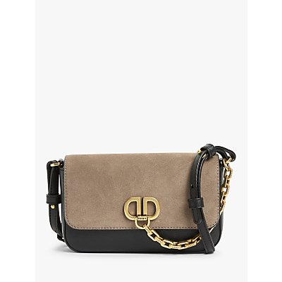 DKNY Clement Leather Flapover Cross Body Bag, Black/Brown