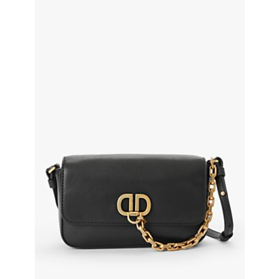 DKNY Linton Demi Leather Cross Body Bag, Black/Gold