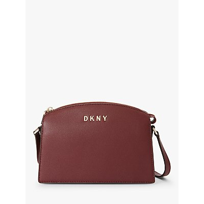 DKNY Clara Leather Top Zip Cross Body Bag, Blood Red
