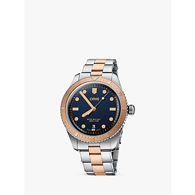 7612611032467 | Oris 01 733 7707 4355 07 8 20 17 Men s Divers 65 Automatic Date Two Tone Bracelet Strap Watch  Silver Rose Gold
