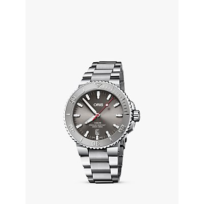7612611032009 | Oris 73377304153 82405PEB Men s Aquis Automatic Date Relief Bracelet Strap Watch  Silver Grey