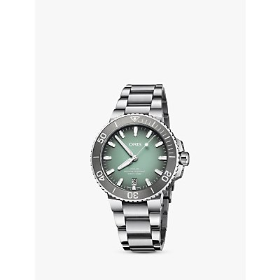 7612611032689 | Oris 73377324137 82105PEB Men s Aquis Automatic Date Relief Bracelet Strap Watch  Silver Green