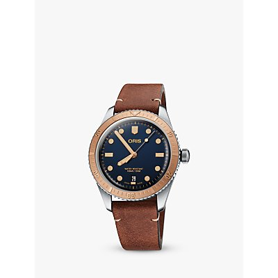 7612611032450 | Oris 73377074355 52045 Men s Divers 65 Automatic Date Leather Strap Watch  Brown Blue