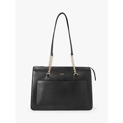 DKNY Bryant Leather Zip Top Tote Bag, Black