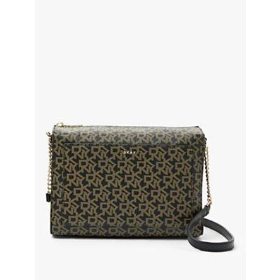 DKNY Bryant Logo Print Medium Box Top Zip Cross Body Bag, Ebony/Black