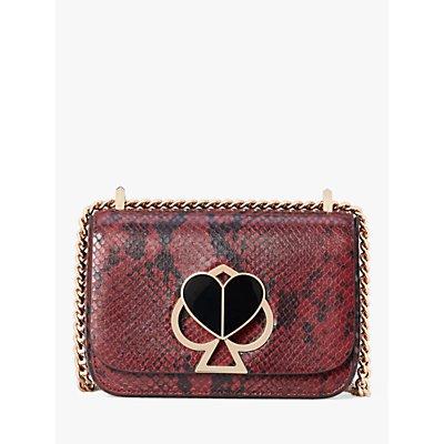 kate spade new york Nicola Leather Chain Twistlock Shoulder Bag, Cherrywood Snake