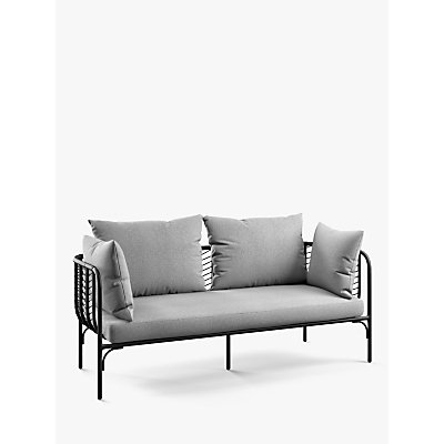 John Lewis & Partners Chevron 2-Seat Garden Sofa, Black/Grey