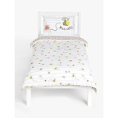 little home at John Lewis Happy Bee and Ditsy Print Reversible Duvet Cover and Pillowcase Set  Single  Multi - 5059139078270