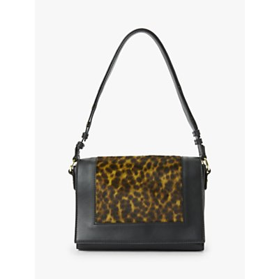 Boden Stamford Leather Multiway Cross Body Bag, Leopard/Black