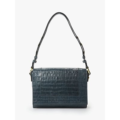 Boden Stamford Leather Multiway Cross Body Bag, Navy croc