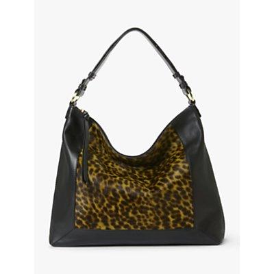 Boden Stamford Leather Shoulder Bag, Leopard/Black