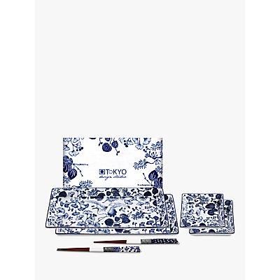 Tokyo Design Studio Flora Japonica Crane Sushi Gift Set, 4 Piece, Blue