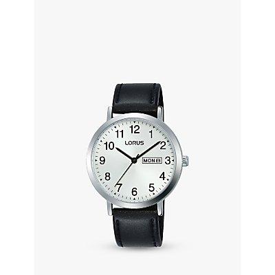 Lorus RH339AX9 Men s Day Date Leather Strap Watch  Black White - 4894138343759