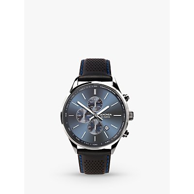 Sekonda 1773 Men s Chronograph Date Leather Strap Watch  Black Blue - 5051322017738