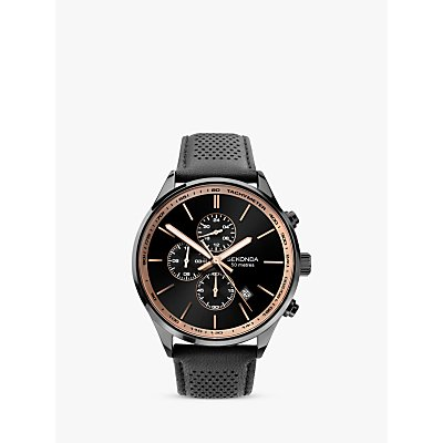 Sekonda 1774 Men s Chronograph Date Leather Strap Watch  Black - 5051322017745