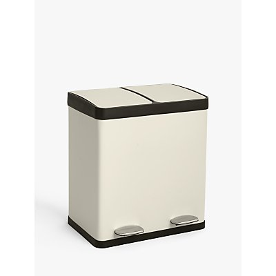 John Lewis & Partners 2 Section Recycling Bin, Stainless Steel, 40L