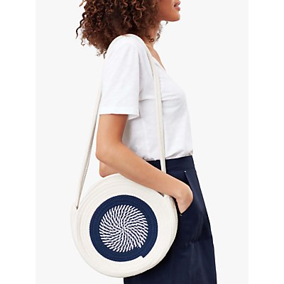 Joules Knotley Rope Round Cross Body Bag, French Navy/White