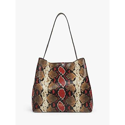 L.K.Bennett Helena Leather Tote Bag, Multi Snake