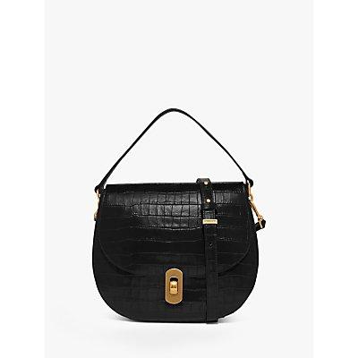Coccinelle Zaniah Croc Embossed Leather Shoulder Bag, Black