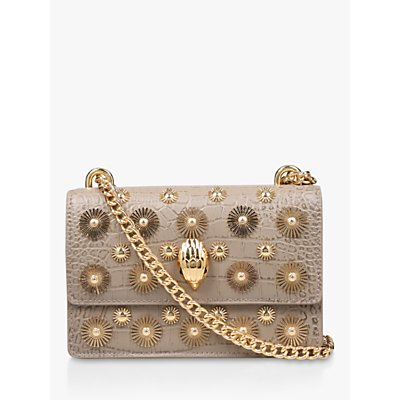 Kurt Geiger London Shoreditch Embellished Small Leather Cross Body Bag, Taupe