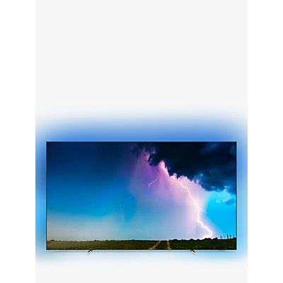 """Philips 55OLED754 (2019) OLED HDR 4K Ultra HD Smart TV, 55"""" with Freeview HD & Ambilight, Silver"""