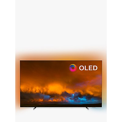 "Philips 65OLED804 (2019) OLED HDR 4K Ultra HD Smart Android TV, 65"" with Freeview HD & Ambilight, Silver"