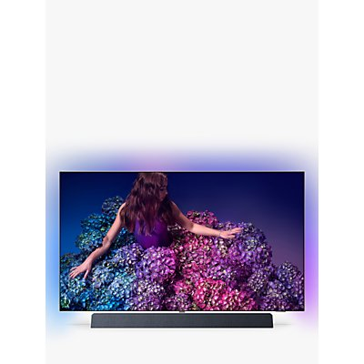 """Philips 65OLED934 (2019) OLED HDR 4K Ultra HD Smart Android TV, 65"""" with Freeview HD, Ambilight, & Bowers & Wilkins Integrated Sound Bar Stand, UHD Premium Certified, Silver"""
