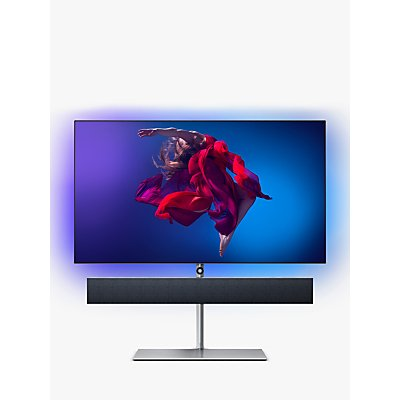 "Philips 65OLED984 (2019) OLED HDR 4K Ultra HD Smart Android TV, 65"" with Freeview HD, Ambilight, & Bowers & Wilkins Suspended Sound Bar Stand, UHD Premium Certified, Black"