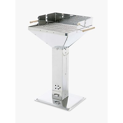 LANDMANN Pedestal Square Charcoal BBQ, Stainless Steel