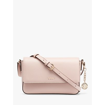 DKNY Bryant Leather Medium Flap Over Cross Body Bag, Cashmere