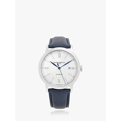 5052210014273 | Baume et Mercier M0A10541 Men s Classima Automatic Date Leather Strap Watch  Blue White