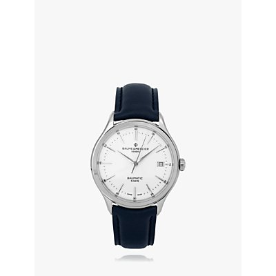 5052210014211: Baume et Mercier M0A10534 Men s Clifton Baumatic Automatic Date Leather Strap Watch  Blue White