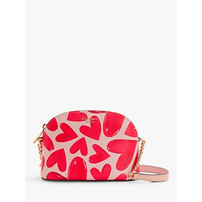 kate spade new york Sylvia Leather Small Dome Cross Body Bag, Hearts Pink