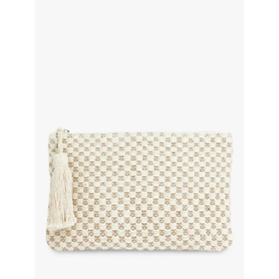 John Lewis & Partners Metallic Tassel Zip Clutch, Cream Mix