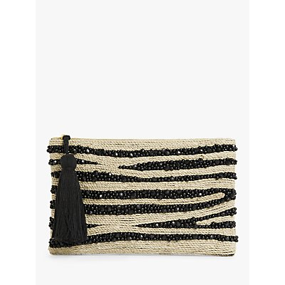 John Lewis & Partners Beaded Zebra Tassel Zip Clutch, Black Mix