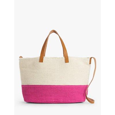 John Lewis & Partners Colour Block Cotton Shoulder Bag, Neutral/Hot Pink