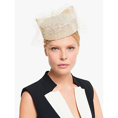John Lewis & Partners Sloan Bow and Veil Pillbox Fascinator, Champagne