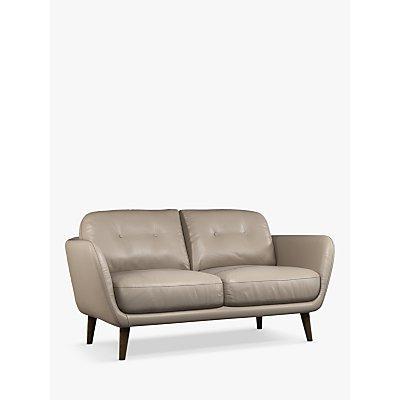 House by John Lewis Arlo Small 2 Seater Leather Sofa, Dark Leg