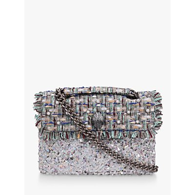 Kurt Geiger London Kensington Tweed Large Cross Body Bag, Pale Blue