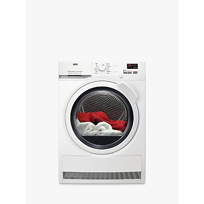 AEG 7000 Series T7DBK841N Freestanding Heat Pump Tumble Dryer, 8kg Load, A++ Energy Rating, White