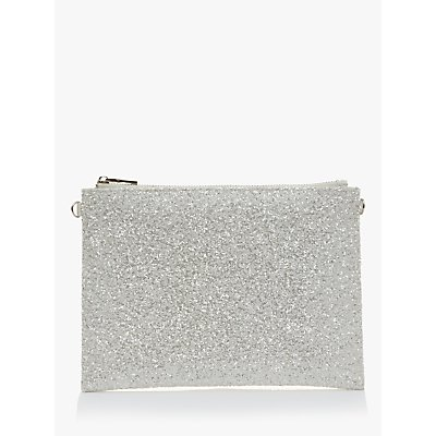 Rainbow Club Arizona Glitter Clutch Bag, Silver