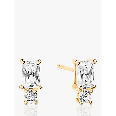 Sif Jakobs Jewellery Baguette and Round Cubic Zirconia Stud Earrings  Gold - 5710698047649
