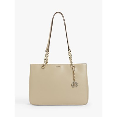 DKNY Chain Sutton Leather Shopper Bag  Sand - 795731645551