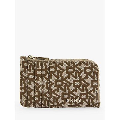 DKNY Bryant Logo Fabric Zip Around Card Holder  Chino Sand - 795730638301