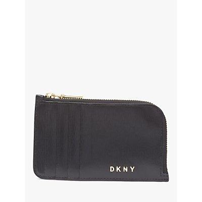 DKNY Bryant Leather Zip Around Card Holder  Black Gold - 795730962574