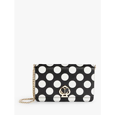 kate spade new york Nicola Leather Chain Cross Body Bag, Black/White