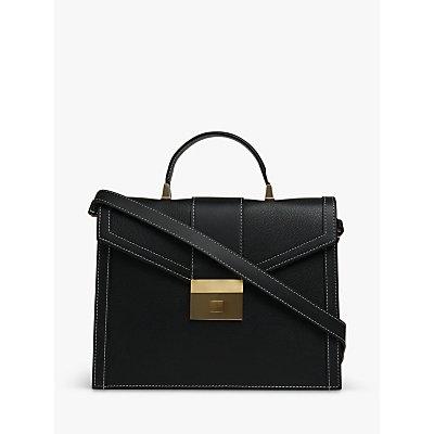 L.K.Bennett Monica Leather Grab Bag, Black