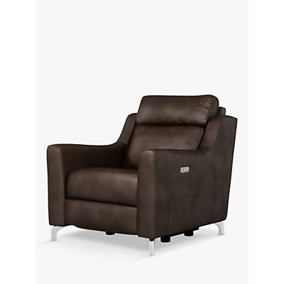 John Lewis & Partners Elevate Power Recliner Leather Armchair, Metal Leg